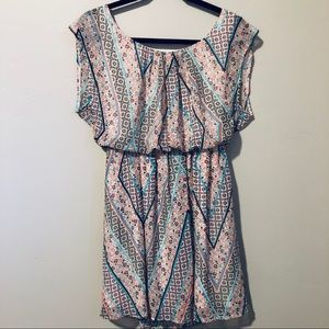AUW Floral Geometric Lined Skater Dress Size S